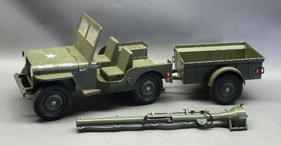 Battery Operated 1960s GI Joe 7000 Combat Jeep with Windshield + Trailer and 106mm Launcher