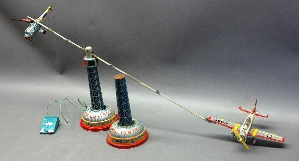 1960s Air Control Tower with Air Force Plane and Helicopter- By Bandai