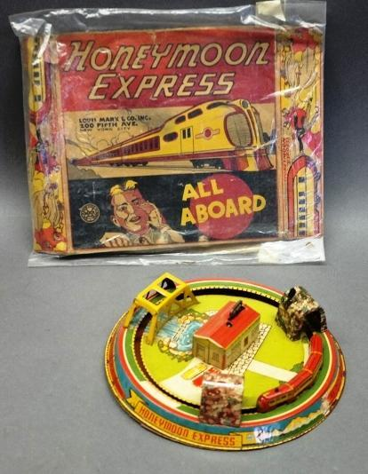 Louis Marx Honeymoon Express Tin Litho Wind Up Train with Original Box