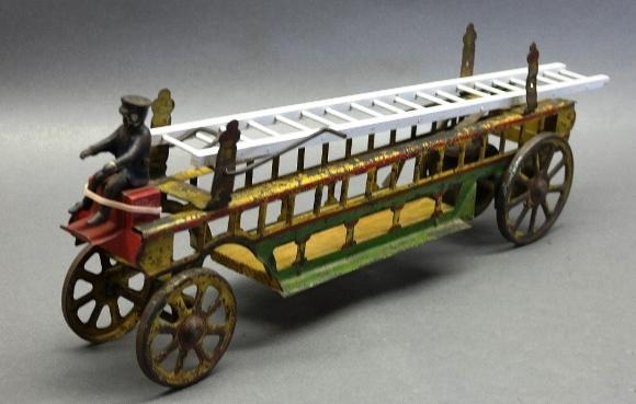 1905 DP Clark & Co Hook and Ladder Truck Hill Climber Toy-Pressed Steel