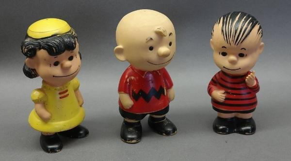 1958 Set of Charlie Brown, Linus and Lucy Rubber Figures