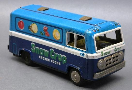 Snow Crop Frozen Foods Tin Litho Friction Bus