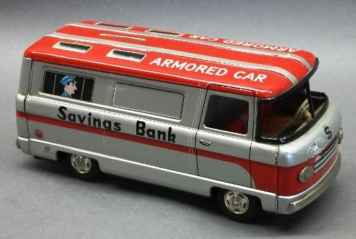 Savings Bank Armored Van Tin Litho Friction Toy Bank