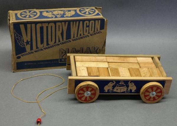 Victory Wagon Wood Motion Toy by Pla-Lak in Original Box