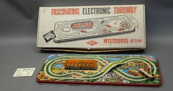 1960 Fascinating Electronic Thruway Tin Litho Track in Box by Prestige Toys