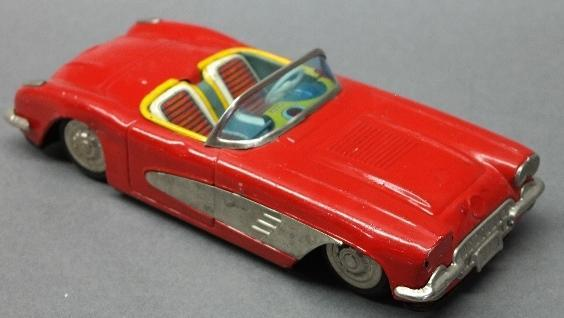 Yonazawa Tin Friction Red Corvette Toy