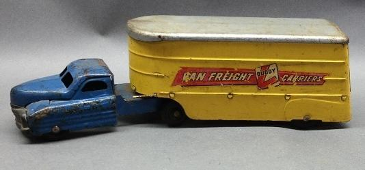 BUDDY L Van Freight Carriers Truck & Trailer.