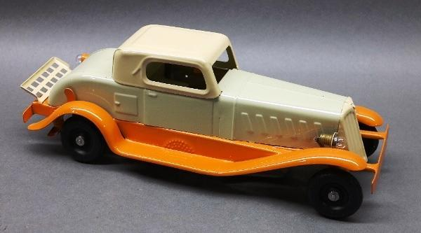 Wind Up Coupe with Battery Operated Headlights by Girard- Restored