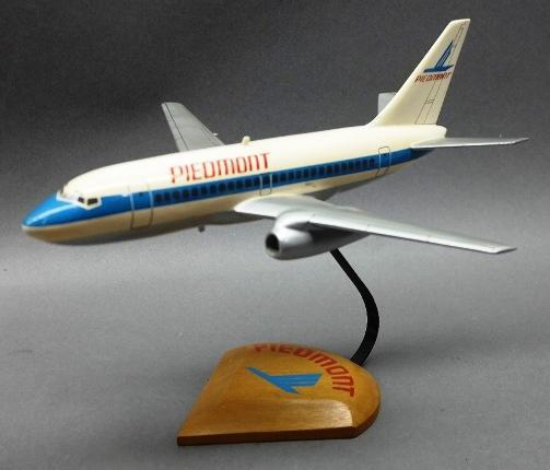 Wooden Jet Airplane 727 Model- Piedmont- on Wood base
