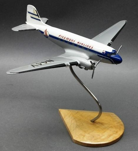 Wooden Jet Airplane DC 10 Model- Piedmont Airlines- on Wood base