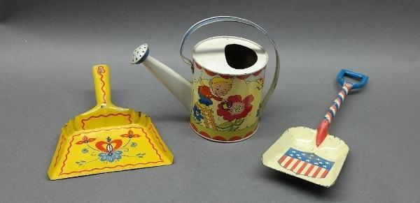 Lot of Ohio Art Pixie Watering Can, Shovel, and Dustpan