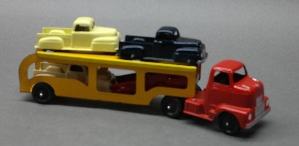Tootsie Toy Car Carrier Truck with 4 Trucks- Restored with original trailer