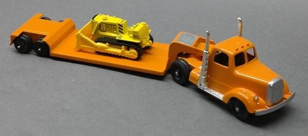 Custom Tootsie Toy Low Boy Hauler with Bulldozer