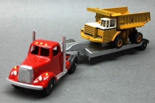 Custom Tootsie Toy Low Boy Hauler with Ertl IH Dump Truck