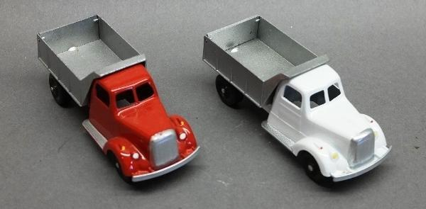 Lot of 2 Restored Tootsie Toy Dump Trucks-Red & White