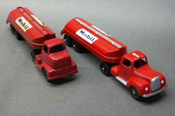 Lot of 2 Tootsie Toy Mobil Gas Tanker Trucks-2 Different Cabs