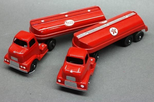 Lot of 2 Tootsie Toy Tanker Trucks-Esso & Texaco