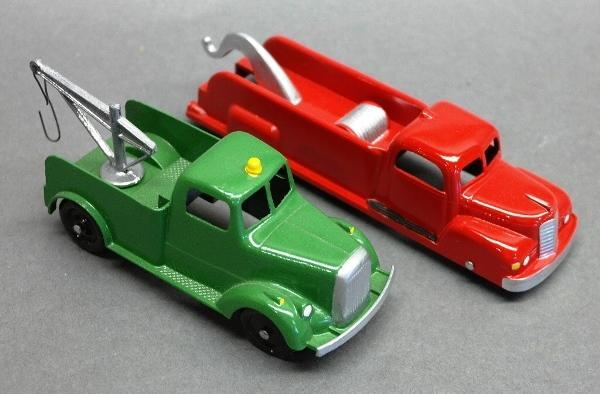 Lot of 2 Tootsie Toy Wrecker Trucks-Restored-Green & Red