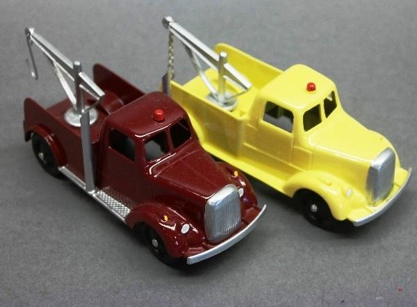 Lot of 2 Early Tootsie Toy Wrecker Trucks-Restored-Yellow & Burgundy
