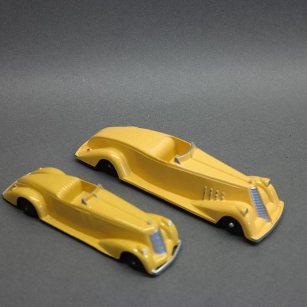 Lot of 2 Yellow Roadsters-Metal Masters & Tootsie