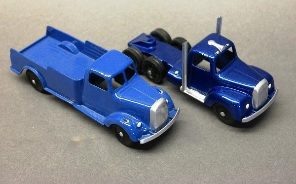 Lot of 2 Tootsie Toy Trucks-Blue Semi Cab & Flat Delivery