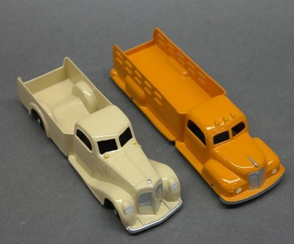 Lot of 2 Tootsie Toy Trucks-Yellow Stake Side & Cream Delivery