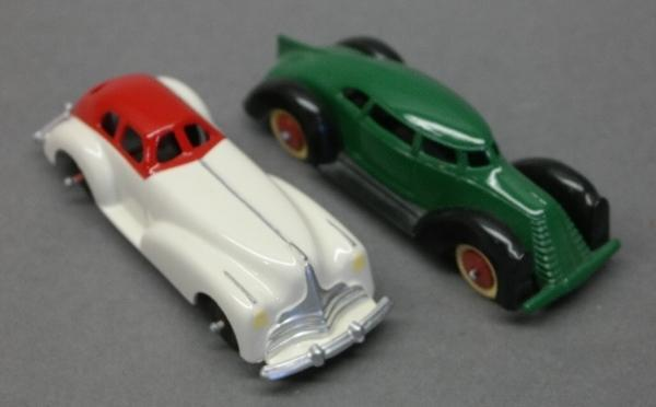 Lot of 2 Manoil Toy Cars-Red & White & Green & Black