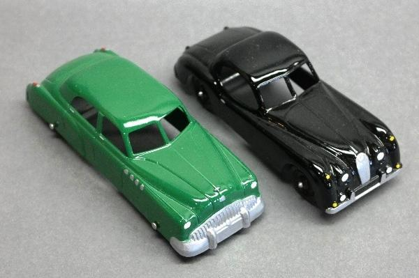 Lot of 2 Tootsie Toy Cars-Green Sedan and Black Sportster