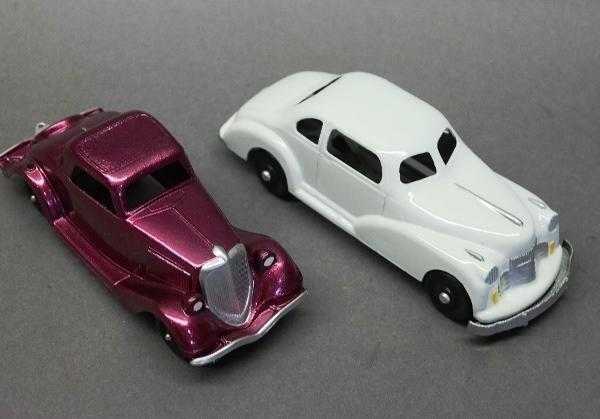 Lot of 2 Toy Cars-Hubley Coupe & Unmarked Way Too Cool White Car