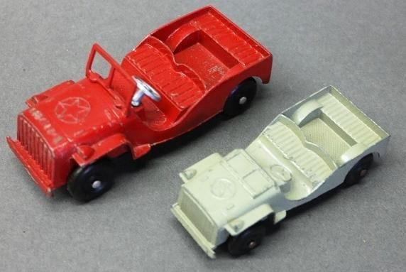 Lot of 2 Original Paint Tootsie Toy Jeeps