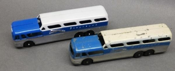 Lot of 2 Tootsie Toy Greyhound Buses