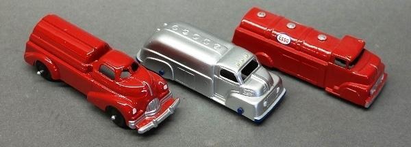 Lot of 3 Restored Toy Tanker Trucks-Manoil, Tootsie, & Midge Toy