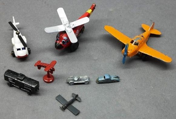 Lot of 8 Small Toys-Tootsie Airplane, Tin Toys, Etc.