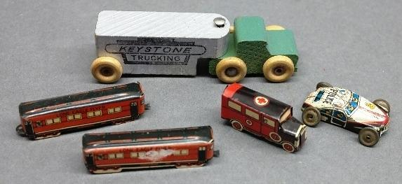 Lot of 5 Early Small Toys-Keystone Trucking Wood Toy + Tin Litho Cars/Train