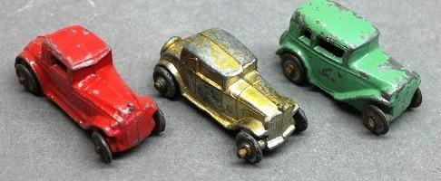 Lot of 3 Early Slush Toy Cars-Two Coupes, One Sedan