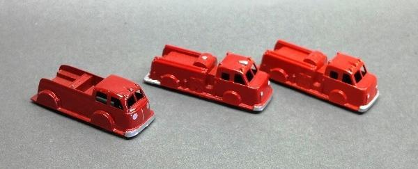 Lot of 3 Restored Fire Trucks- Midgetoy, Tootsie