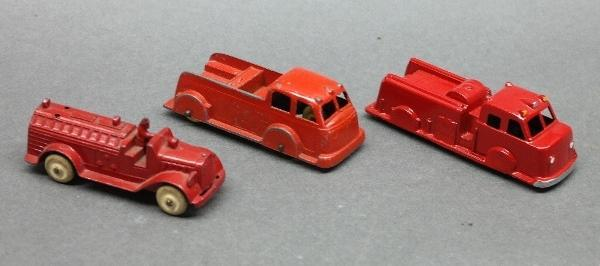 Lot of 3 Tootsie Toy Fire Trucks + Midgetoy