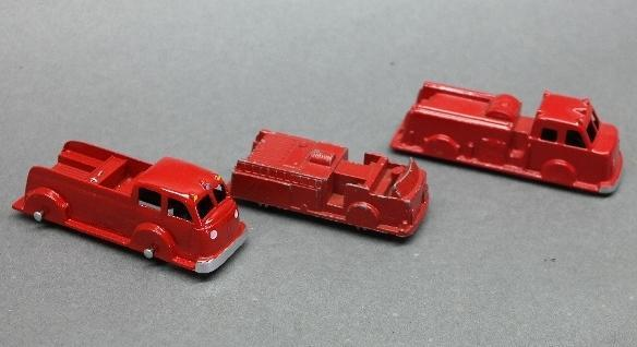 Lot of 3 Midge Toy and Tootsie Toy Fire Trucks