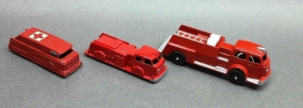Lot of 3 fire Trucks- 2 Restored, Hubley, Tootsie Toy and Midgetoy