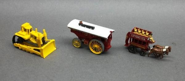 Lot of 3 Lesney Vehicles + Hot Wheels Bull Dozer