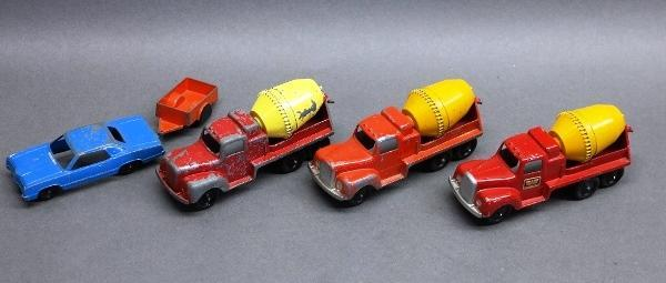 Lot of 3 Cement Mixers + Tootsie Toy Hitch Ups