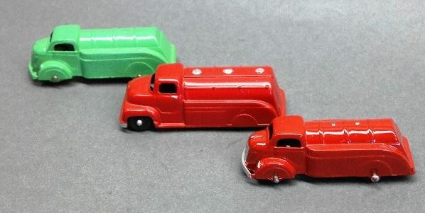 Lot of 3 Tootsie Toy Oil Tankers- 1 Restored