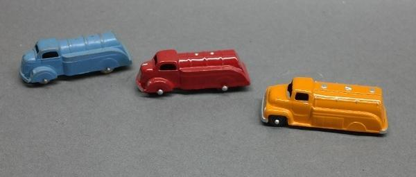 Lot of 3 Tootsie Toy Oil Tankers- 2 Restored