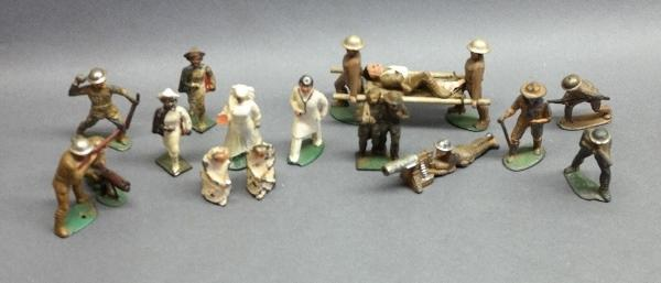 Lot of Various Military and Hospital Cast Metal Figures- Barclay, Manoil and others