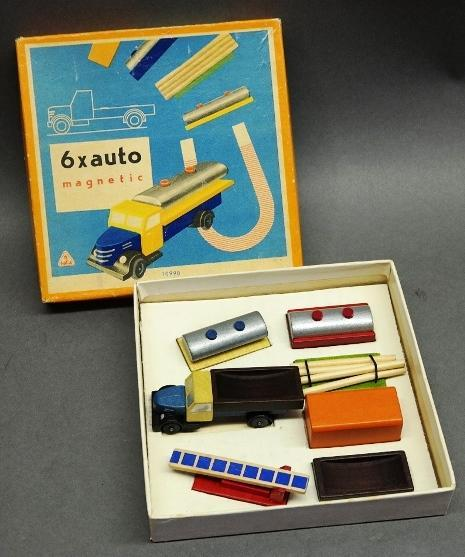 6x Auto Magnetic Wood Truck in Original box- Made in Czechoslovakia