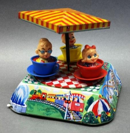 1960s Circus Fun Cup Ride Battery Operated Toy by Kanto Japan Tin Litho