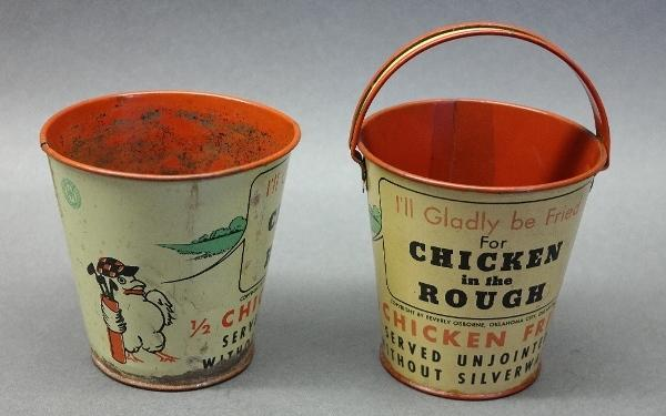 Lot of 2 Ohio Art Chicken in the Rough Advertising Pails- Oklahoma City