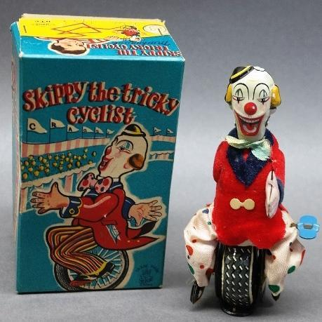 1955 Skippy the Tricky Cyclist Riding Unicycle by TPS/ Cragstan, In Original Box