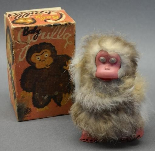 1950s Baby Gorilla with Real Fur Wind Up Toy by TM Japan in Original Box
