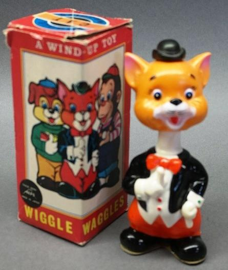 1960s Wiggles Waggles Cat Plastic and Rubber Wind Up Toy by Alps in Original Box